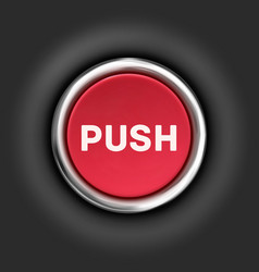 Push button 3d red glossy metallic icon vector image