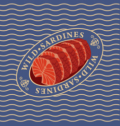 steaks of wild sardines on the waves background vector image vector image