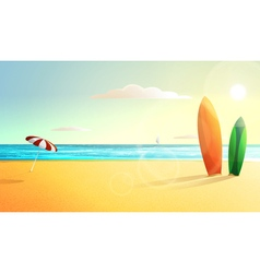 sunny summer beach panorama Surfing vector image vector image