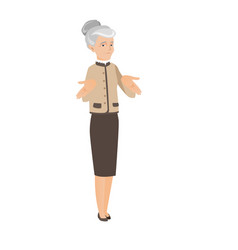 caucasian business woman shrugging shoulders vector image