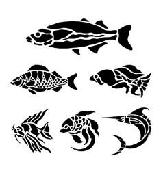 fish animal aquatic black silhouette vector image