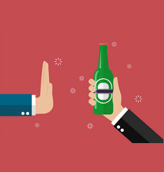 hand gesture rejection a bottle of beer vector image vector image