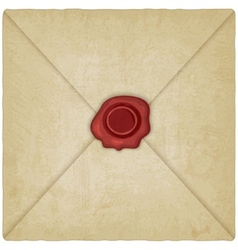 vintage envelope with wax seal vector image vector image