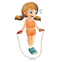 A young lady exercising with a rope vector image vector image