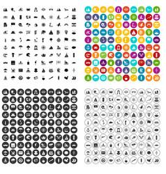 100 sailing vessel icons set variant vector