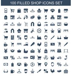 100 shop icons vector