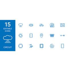 15 circuit icons vector
