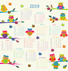 2019 calendar with cartoon owls vector
