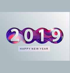 2019 creative happy new year card in paper style vector image