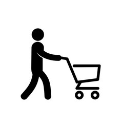 A simple icon of a man with cart vector