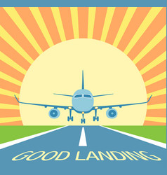Aircraft make good landing symbol of excellen vector