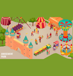 amusement park isometric horizontal vector image