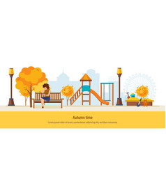autumn time autumn city park girl resting in vector image