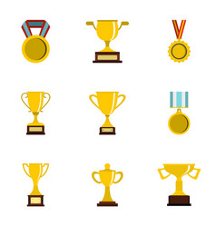 Award icons set flat style vector
