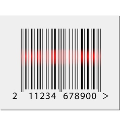 Barcode icon with red laser beam vector
