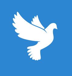 beautiful white peace dove silhouette vector image