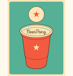 Beer pong typographical vintage style poster vector