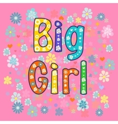 big Girl Greeting card vector image