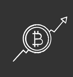 Bitcoin market growth chart chalk icon vector