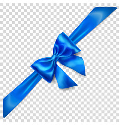 Blue bow with diagonally ribbon vector