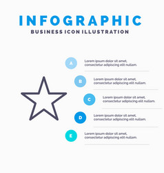 bookmark star media line icon with 5 steps vector image