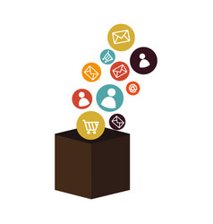box with social media icons vector image