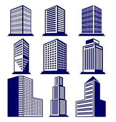 Buildings abstract icon set vector