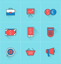 business icons icon set in flat design style vector image
