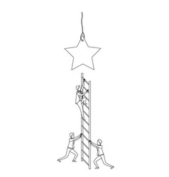 businessman climbing wooden stairs to reach a star vector image