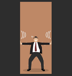 Businessman pushing against squeezing walls vector