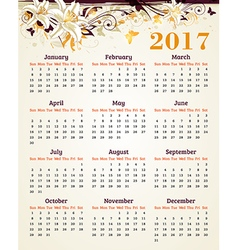 Calendar for 2017 year vector image