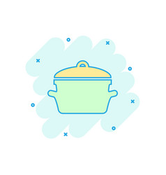 cartoon cooking pan icon in comic style kitchen vector image