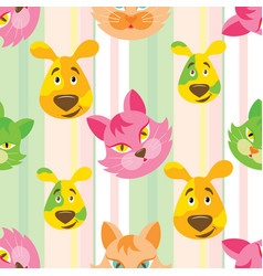 cat and dog seamless childish pattern vector image