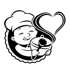 Cheerful chef with a dish in his hand vector