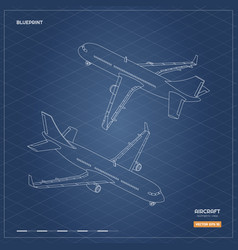 Civil isometric aircraft in outline style vector