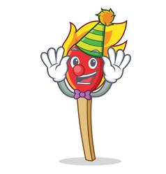 Clown match stick mascot cartoon vector