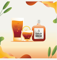 Cold brew coffee with leaf element vector