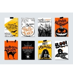 collection happy halloween and party typography vector image
