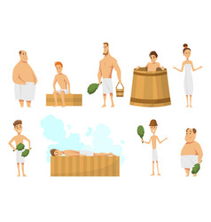 collection people bathing in sauna or banya vector image
