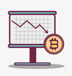 Color cryptography icon bitcoin money currency vector