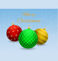 colored christmas balls on a bright snowy vector image