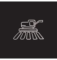 Combine harvester sketch icon vector image