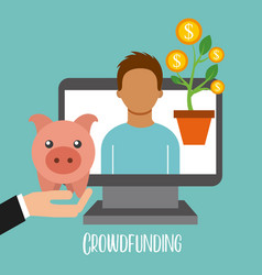 crowdfunding online cooperation people piggy vector image