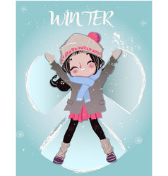 cute cartoon winter girl vector image
