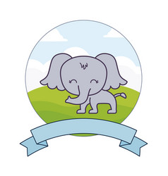 Cute elephant in landscape with frame and ribbon vector