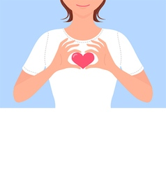 cute girl making heart shape with her hands vector image