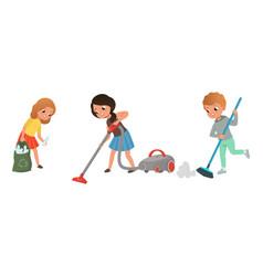 cute kids doing housework set children collecting vector image