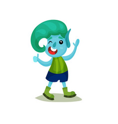 Cute smiling boy troll with turquoise hair and vector