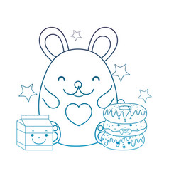 Degraded outline female mouse with kawaii donuts vector