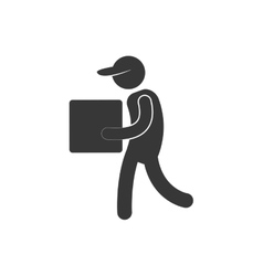 delivery man cardboard box with cap figure vector image